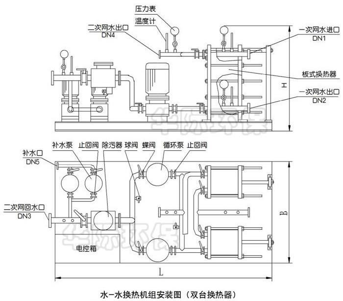 水-水板式换热机组尺寸